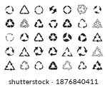 set recycle vector icons. label ... | Shutterstock .eps vector #1876840411