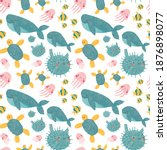 cute baby pattern with sea...   Shutterstock . vector #1876898077