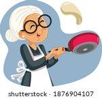 cheerful grandmother flipping... | Shutterstock .eps vector #1876904107