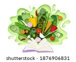 open recipe book with fresh...   Shutterstock .eps vector #1876906831