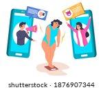 fat girl experiencing body... | Shutterstock .eps vector #1876907344