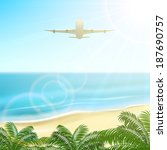 plane fly above the palms on... | Shutterstock .eps vector #187690757