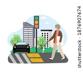 blind woman with cane crossing... | Shutterstock .eps vector #1876907674
