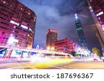 car light trails and urban... | Shutterstock . vector #187696367