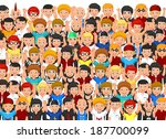 crowd of people cheering | Shutterstock .eps vector #187700099