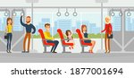 passengers travelling by bus ... | Shutterstock .eps vector #1877001694