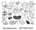 pizza maker with pizza...   Shutterstock .eps vector #1877007337