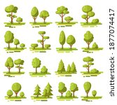 big set of vector deciduous...