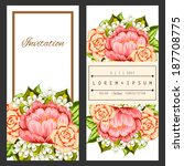 set of invitations with floral... | Shutterstock .eps vector #187708775