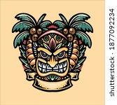tiki holiday illustration...   Shutterstock .eps vector #1877092234