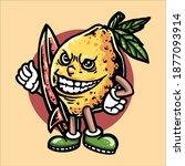 lemon surfing illustration...   Shutterstock .eps vector #1877093914