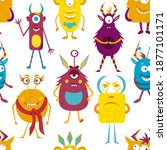pattern with cartoon monsters.... | Shutterstock .eps vector #1877101171