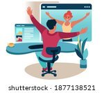 office syndrome. stretching... | Shutterstock .eps vector #1877138521