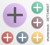 plus sign badge color set icon. ...