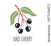cute caption bird cherry on a... | Shutterstock .eps vector #1877156071