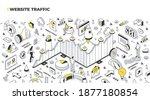 website traffic concept.... | Shutterstock .eps vector #1877180854