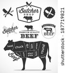 beef cuts diagram and butchery... | Shutterstock .eps vector #187719821