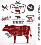 beef cuts diagram and butchery... | Shutterstock .eps vector #187719827