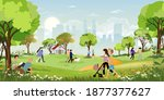 morning city park with family... | Shutterstock .eps vector #1877377627