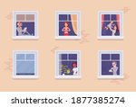 windows of a house with...   Shutterstock .eps vector #1877385274