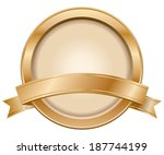 bronze label with ribbon | Shutterstock .eps vector #187744199