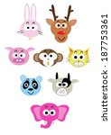 cartoon animal head icon | Shutterstock .eps vector #187753361