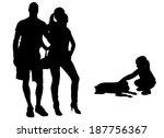 vector silhouette of family on... | Shutterstock .eps vector #187756367