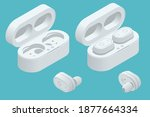 white wireless earphones and... | Shutterstock .eps vector #1877664334