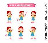 cute little kid girl in various ...   Shutterstock .eps vector #1877683321