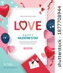 happy valentine's day poster... | Shutterstock .eps vector #1877708944