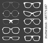 vector set of white glasses...   Shutterstock .eps vector #187771187