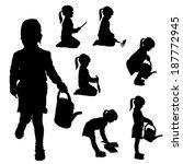 vector silhouette of a little... | Shutterstock .eps vector #187772945