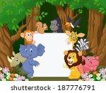 cartoon wild animal holding... | Shutterstock .eps vector #187776791