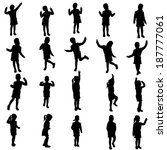 vector silhouette of girl on a... | Shutterstock .eps vector #187777061