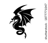 angry dragon black tattoo... | Shutterstock .eps vector #1877771047