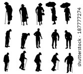 vector silhouette of old people ... | Shutterstock .eps vector #187777274