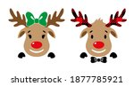 cute red nosed reindeer with...   Shutterstock .eps vector #1877785921