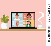 video conference remote working ... | Shutterstock .eps vector #1877825524