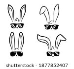 Set Of Faces Bunny In...