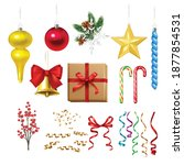 christmas decoration set with...   Shutterstock .eps vector #1877854531