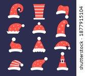santa hats set. claus caps... | Shutterstock . vector #1877915104