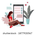 young girl chatting on the... | Shutterstock .eps vector #1877920567