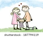 father  mother  daughter and... | Shutterstock .eps vector #187794119