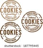 vintage style cookies bakery... | Shutterstock .eps vector #187795445