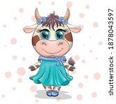 cute cartoon princess cow on a...   Shutterstock .eps vector #1878043597