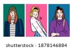 stylish ladies wearing trendy...   Shutterstock .eps vector #1878146884