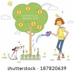 illustration of woman and money ... | Shutterstock . vector #187820639