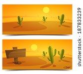 cartoon desert landscape banner ...