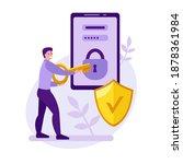 mobile phone security vector... | Shutterstock .eps vector #1878361984