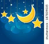 Cartoon Stars In The Night Sky...